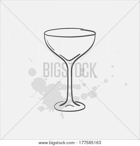 margarita glass sauser hand drawn icon - vector illustration