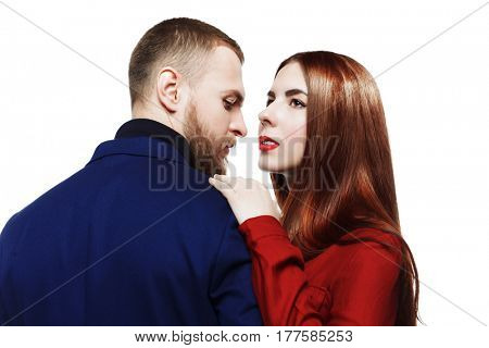 Close-up portrait of a beautiful young people in love. Beauty, fashion. Love concept.