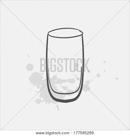 highball glass hand drawn icon - vector illustration