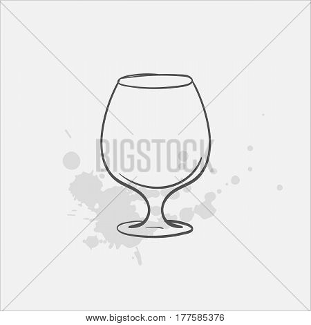 Brandy glass hand drawn icon - vector illustration