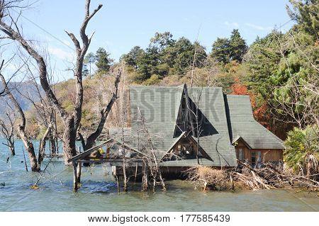 Flooded House At Lake Atitlan