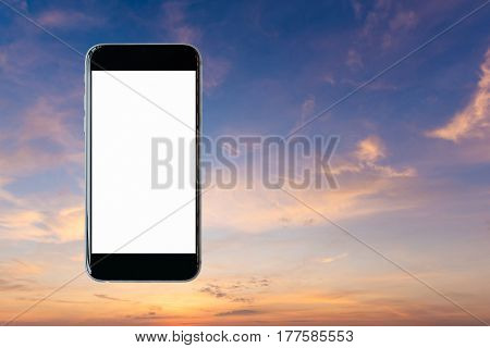 Smartphone With Blank White Screen And Copy-space On Beautiful Sky Background. Elegant Design With C