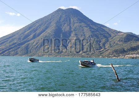 Lake Atitlan With Vulcano San Pedro