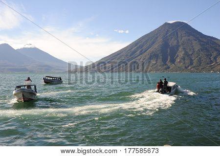 Lake Atitlan With Volcano San Pedro