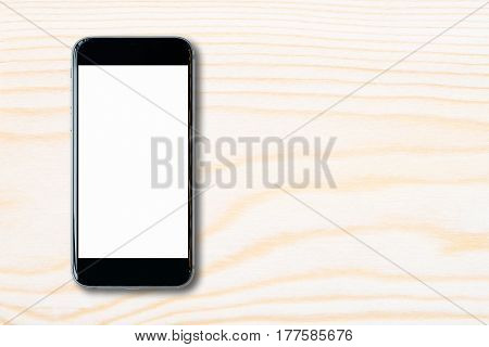 Flat Lay Smartphone With Blank White Screen And Copy-space On Wood Table. Elegant Design With Copy S
