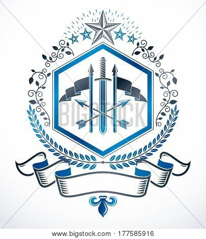 Heraldic sign with vector vintage elements like armory and stars