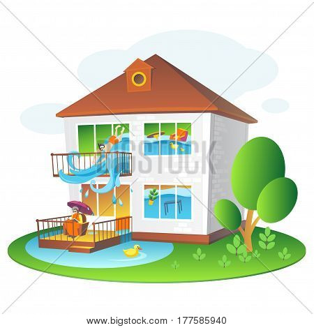 Illustration with flooded home for companies insuring the property Colorful illustration for design projects: websites, banners, leaflets, posters and cards.