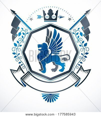 Heraldic sign created with vector vintage elements like gryphon and royal crown