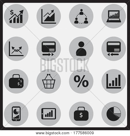 Set Of 16 Editable Logical Icons. Includes Symbols Such As Trading Purse, Circle Diagram, Credit Card And More. Can Be Used For Web, Mobile, UI And Infographic Design.