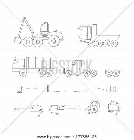 Forestry Machines Line Vector Icon Set