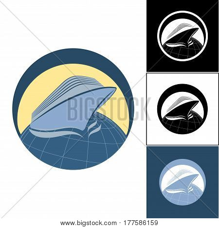 Logo cruise liner in a circle. Set of cruise liner logos. Logo on the sea theme. Logos for travel agencies. Logo for travel and travelers.
