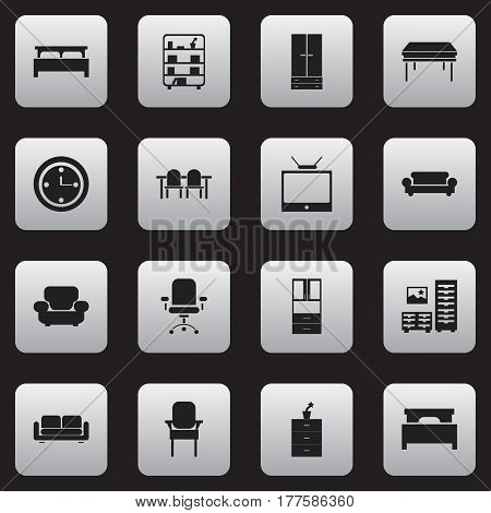 Set Of 16 Editable Furniture Icons. Includes Symbols Such As Bearings, Canape, Restaurant Table And More. Can Be Used For Web, Mobile, UI And Infographic Design.