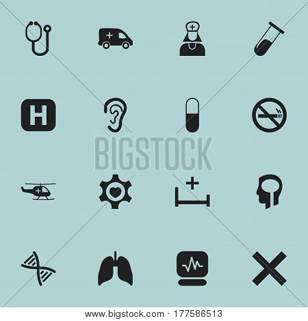 Set Of 16 Editable Hospital Icons. Includes Symbols Such As Genome, Clinic, Heart And More. Can Be Used For Web, Mobile, UI And Infographic Design.