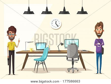 Modern workplace. Creative character. Office work. Cartoon vector illustration. designer workspace. Furniture in interior. For web and banner.
