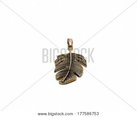 Old feather decoration isolated on white background