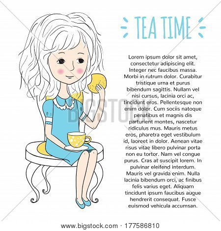 Tea time template. Design of the booklet or pages of a magazine. Sweet girl with cookies and a Cup of tea. Vector illustration in cartoon style.