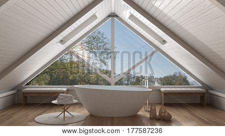 Classic Mezzanine Loft With Big Panoramic Window, Spa Bathroom, Summer Or Spring Garden Meadow, Mini