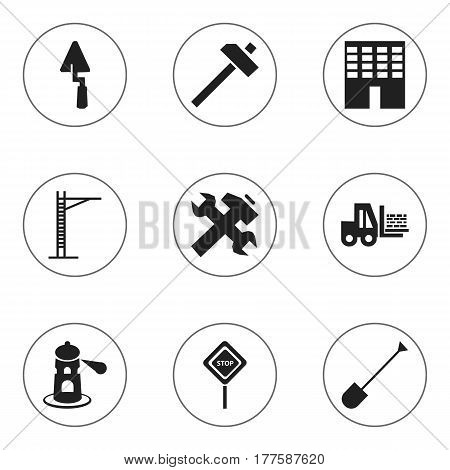 Set Of 9 Editable Structure Icons. Includes Symbols Such As Hoisting Machine, Hammer, Caution And More. Can Be Used For Web, Mobile, UI And Infographic Design.