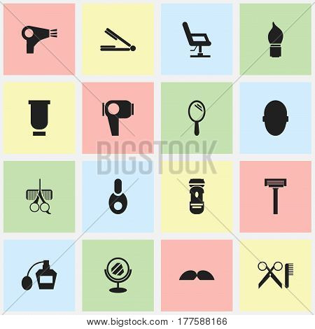 Set Of 16 Editable Tonsorial Artist Icons. Includes Symbols Such As Brains, Take The Hair Dryer, Vial And More. Can Be Used For Web, Mobile, UI And Infographic Design.