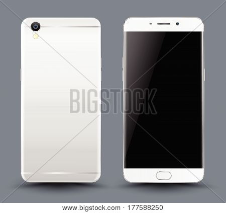 Front and back smartphone mockup. Easy place image into screen smartphone with shiny layer. Vector illustration for printing and web element, Game and application mockup.