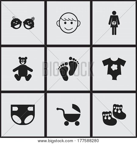 Set Of 9 Editable Infant Icons. Includes Symbols Such As Footmark, Stroller, Teddy And More. Can Be Used For Web, Mobile, UI And Infographic Design.