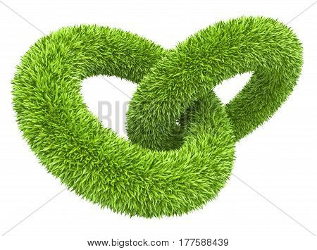 Two ring covered grassy. 3d illustration isolated on a white background