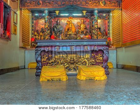 Taipei Taiwan - October 04 2016: An altar in a typical Taiwanese temple