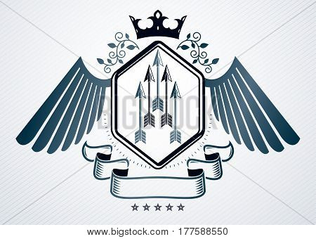Classy emblem made with eagle wings decoration spears and royal crown symbols. Vector heraldic Coat of Arms.