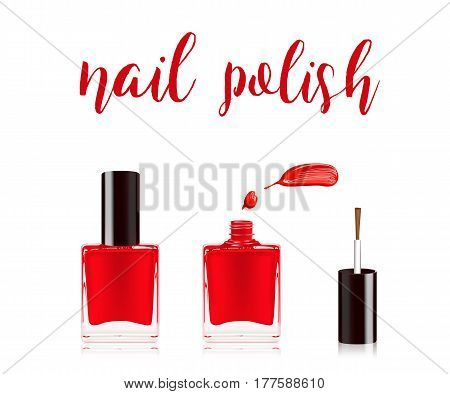 Red nail polish in bottle with the bottle lid on top and nail smear drop