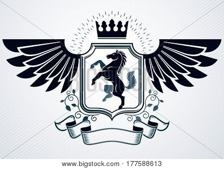 Heraldic Coat of Arms decorative vintage emblem vector illustration of monarch crown and horse
