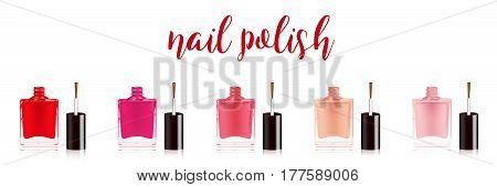 Different colors nail polish set. Nail varnish in the bottle with the bottle lid, isolated on white background. Vector illustration