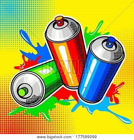 Colorful paint cans comic book pop art retro style vector illustration