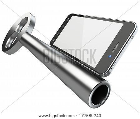 Smartphone key security concept. 3d illustration isolated on a white background.