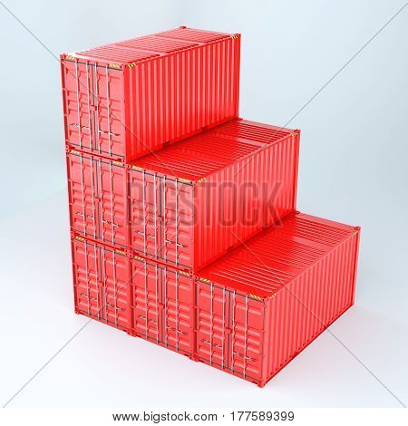 3d rendering of a shipping 20ft containers. Isoalted on white