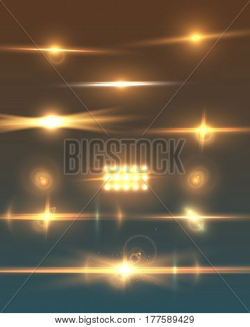 Illustration of Vector Lens Flare. Transparent Vector Lens Flare Effect Set. Bright Sunflare Explosion Template