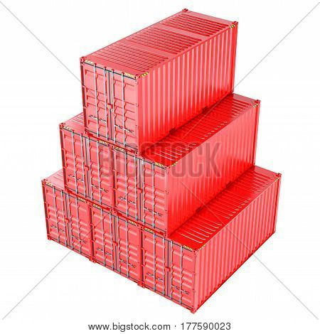 Stacked red cargo containers over white 3D Illustration
