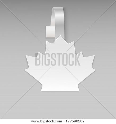 Empty vector blank white leaf maple paper plastic advertising price wobbler front view. Isolated on background. Advertising stickers for promotions, fall sales and discount offer. Vector illustration.