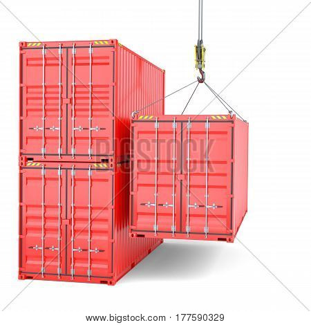 Shipping containers with crane hook, cargo. Isolated on White background. 3d rendering