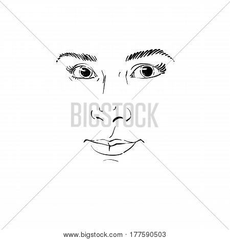 Vector drawing of pensive woman thinking about something. Black and white portrait of attractive still lady with delicate features.