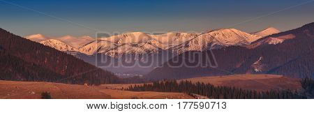 Rolling green hills and snow covered mountain peaks panorama