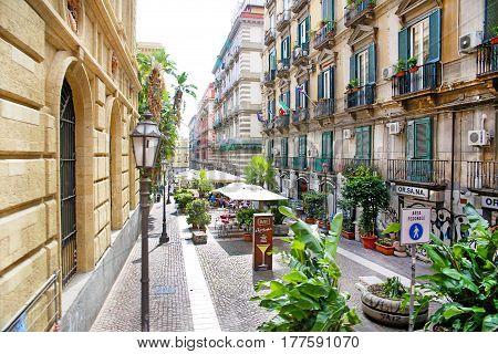 NAPLES, ITALY - October 9, 2016: Naples sunny street view. Italy, Europe