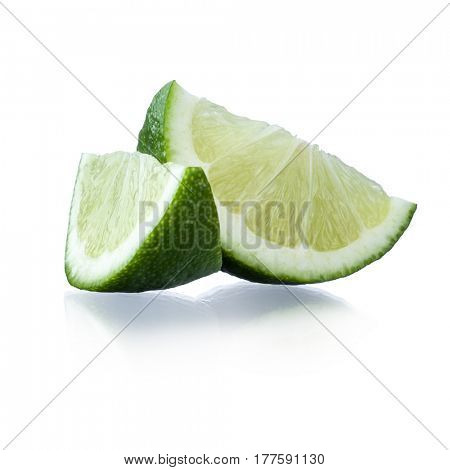 Close-up image of lime slices studio isolated on white background