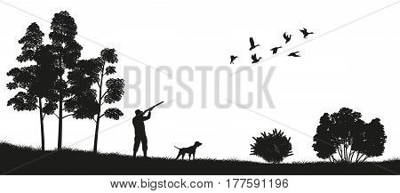 Black silhouette of a hunter with a dog in the forest. Duck hunting. Landscape of wild nature. Vector illustration