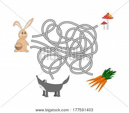 Kids maze. Help the rabbit to find a way out of the labyrinth. Funny game for children. Vector illustration