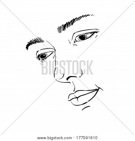 Hand-drawn portrait of white-skin sorrowful woman sad face emotions theme illustration. Beautiful melancholic lady posing on white background face features.