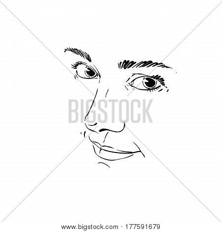 Monochrome portrait of delicate good-looking dreamy still woman black and white vector drawing. Emotional expressions idea image face features.