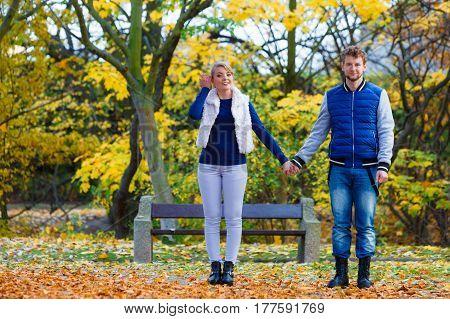 Couple In Love Enjoy Romantic Date In Park.