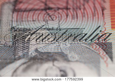 Word ``australia`` On Twenty Dollar Banknote