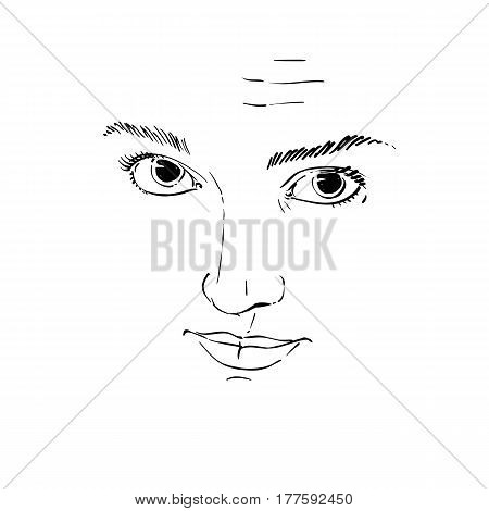Vector art drawing portrait of gorgeous girl with wrinkles on her forehead. Facial expressions people emotions skeptic or distrustful girl. Mask I do not believe you.