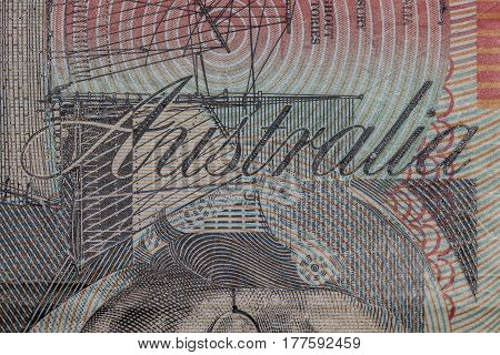 Close Up On Australia Word On Twenty Dollars Bill